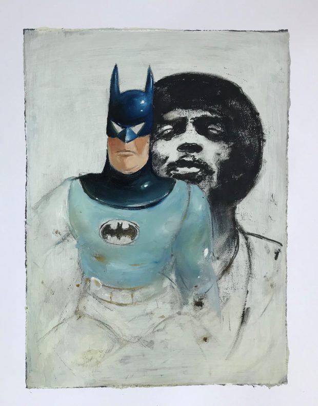 Ransome Stanley, Heroes 4, 2019, Mischtechnik auf Papier, 40 x 30 cm
