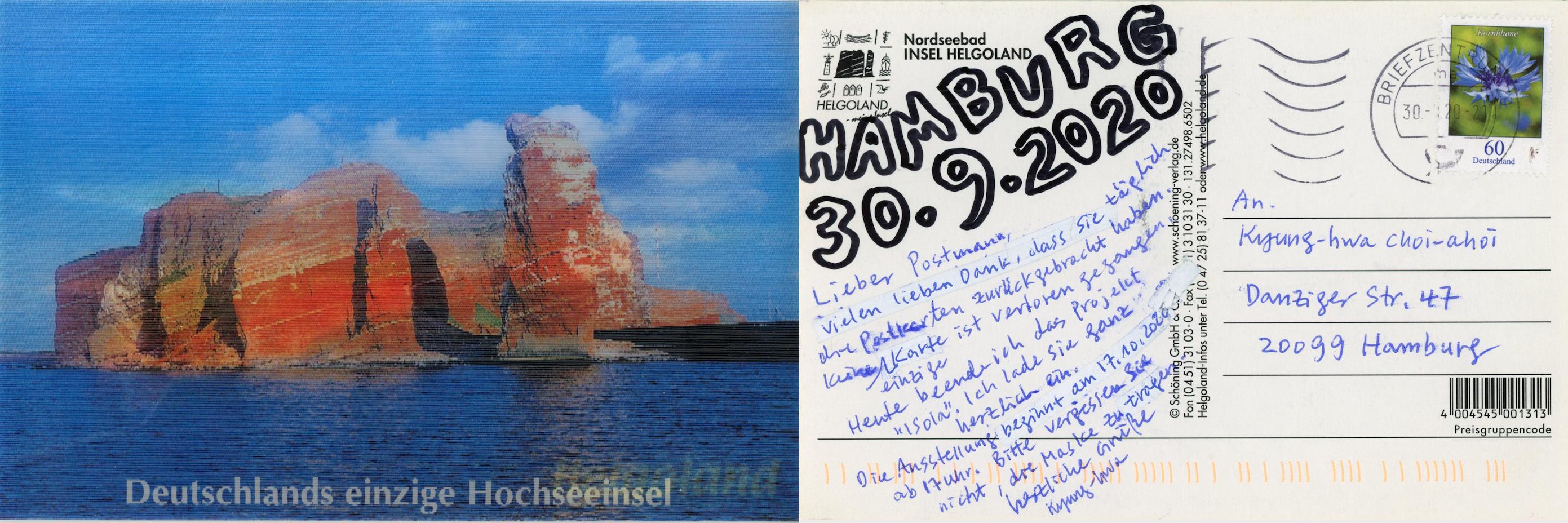 Kyung-hwa Choi-ahoi, Isola, MailArt Projekt mit 37 Ansichtskarten, 30. 9. 2020, Mischtechnik auf Postkarte, 15 x 10 cm