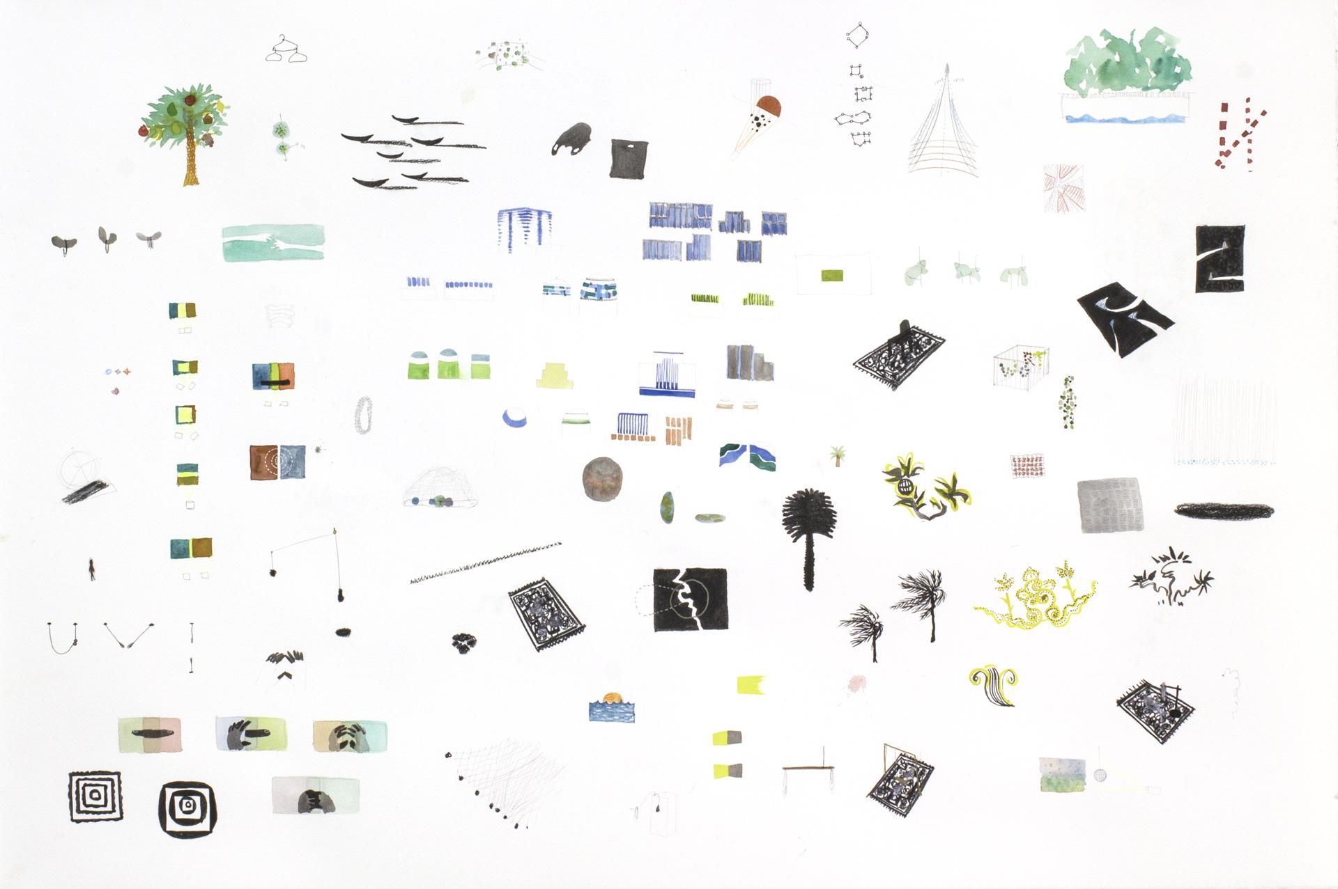 Naho Kawabe, Serie Pits(C2), 2020, Bleistift, Aquarell, Kohle auf Papier, 76 x 110 cm_1.600€