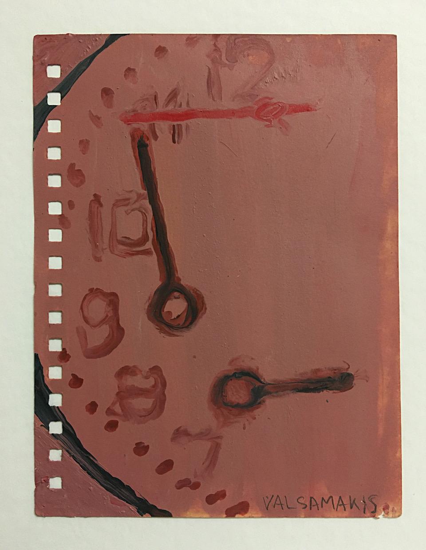 Nikos Valsamakis, Uhrwerk 1, 2018, Öl auf Papier, 10,5 x 14,5 cm_476€