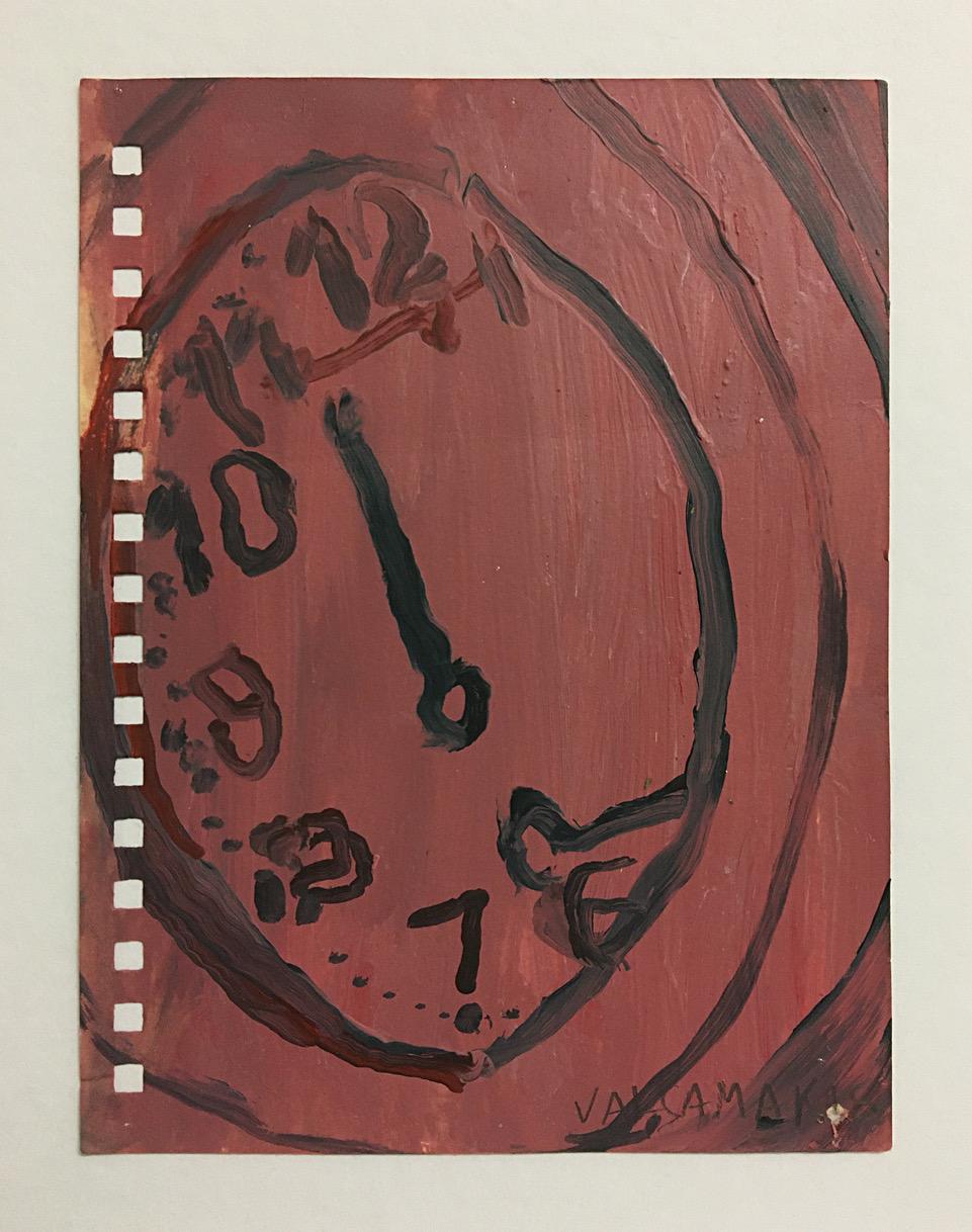 Nikos Valsamakis, Uhrwerk 2, 2018, Öl auf Papier, 10,5 x 14,5 cm_476€