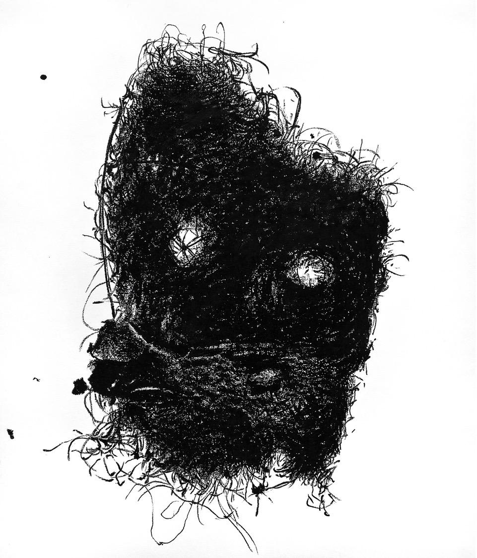 Peter Boué, Wurzelmaske, 2020, Fettkreide auf Karton, 70 x 60 cm, 2.200€