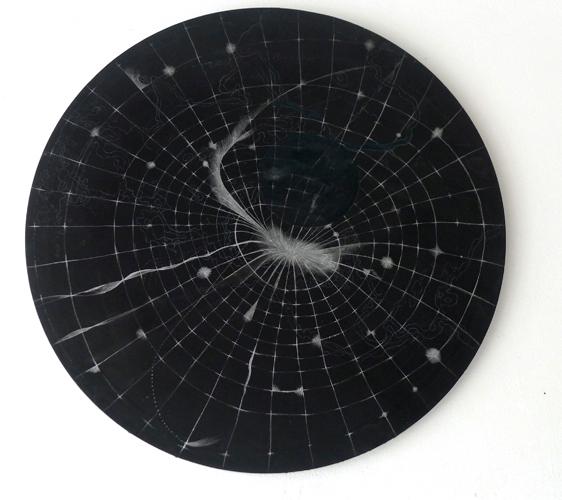 Sabine Mohr, Atmosphärische Störung #2, Gips, Leinwand, Silberstift, Gouache, 90 x 90 cm, 2019_1.600€