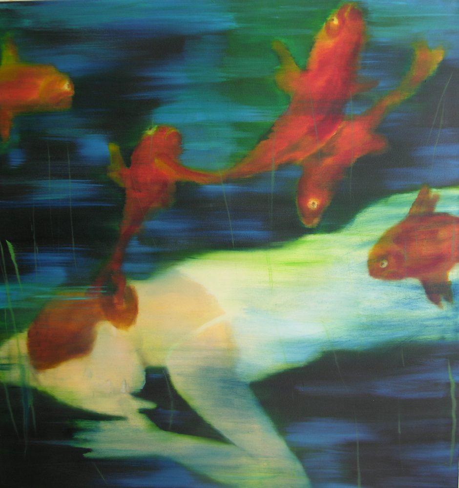 Abgetaucht, 2018, Öl auf Nessel, 110 x 105 cm