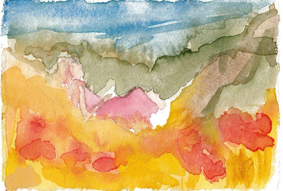 Der Traum vom Sommer im Februar, 2021, Aquarell, 14,5 x 20,5 cm