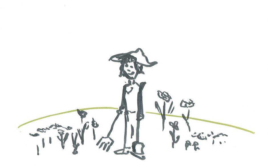 Der zufriedene Gärtner, 2020, Aquarellstift, 14,8 x 21 cm