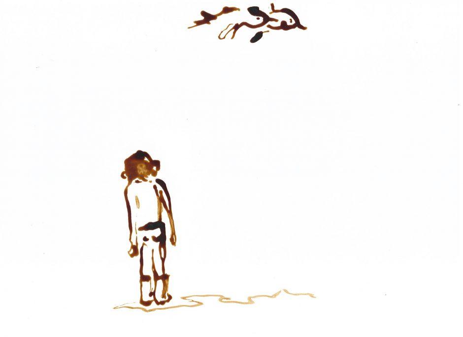Die Möwen, 2020, Schellacktusche, 21 x 29,7 cm