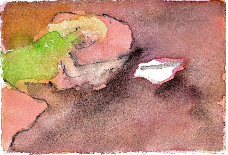 Erschöpft von nichts und allem, 2021, Aquarell, 14,5 x 20,5 cm