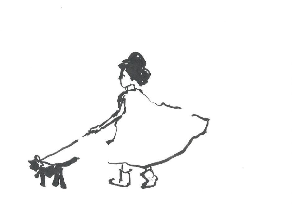 Gassirunde in Vaters Cape, 2020, Tusche, 14,8 x 21 cm
