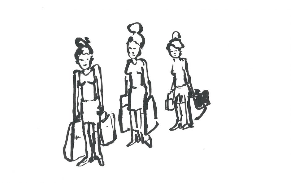Kö Mädels, 2020, Tusche, 14,8 x 21 cm
