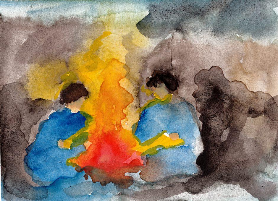 Lagerfeuer mit Gorilla, 2021, Auqarell, 16,5 x 22 cm