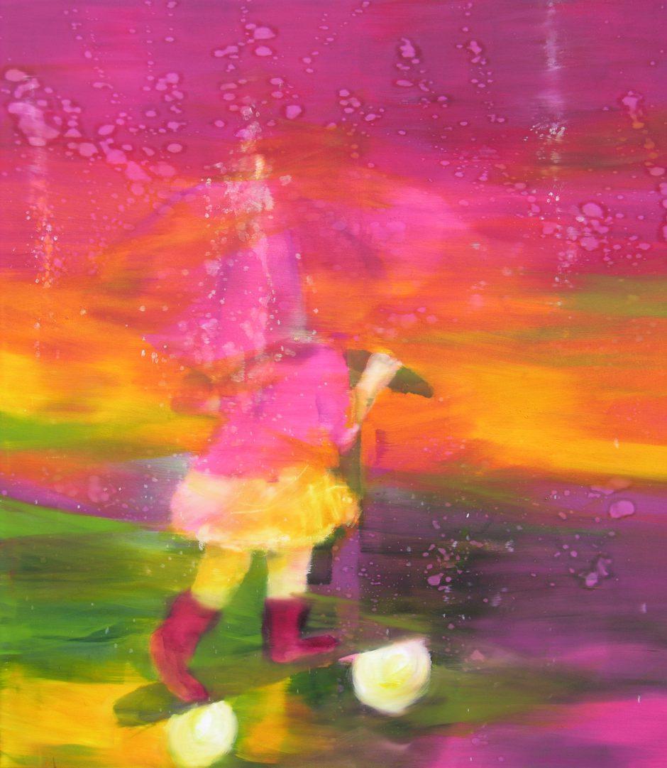 Rainy rosy day, 2020, Öl auf Nessel, 145 x 135 cm