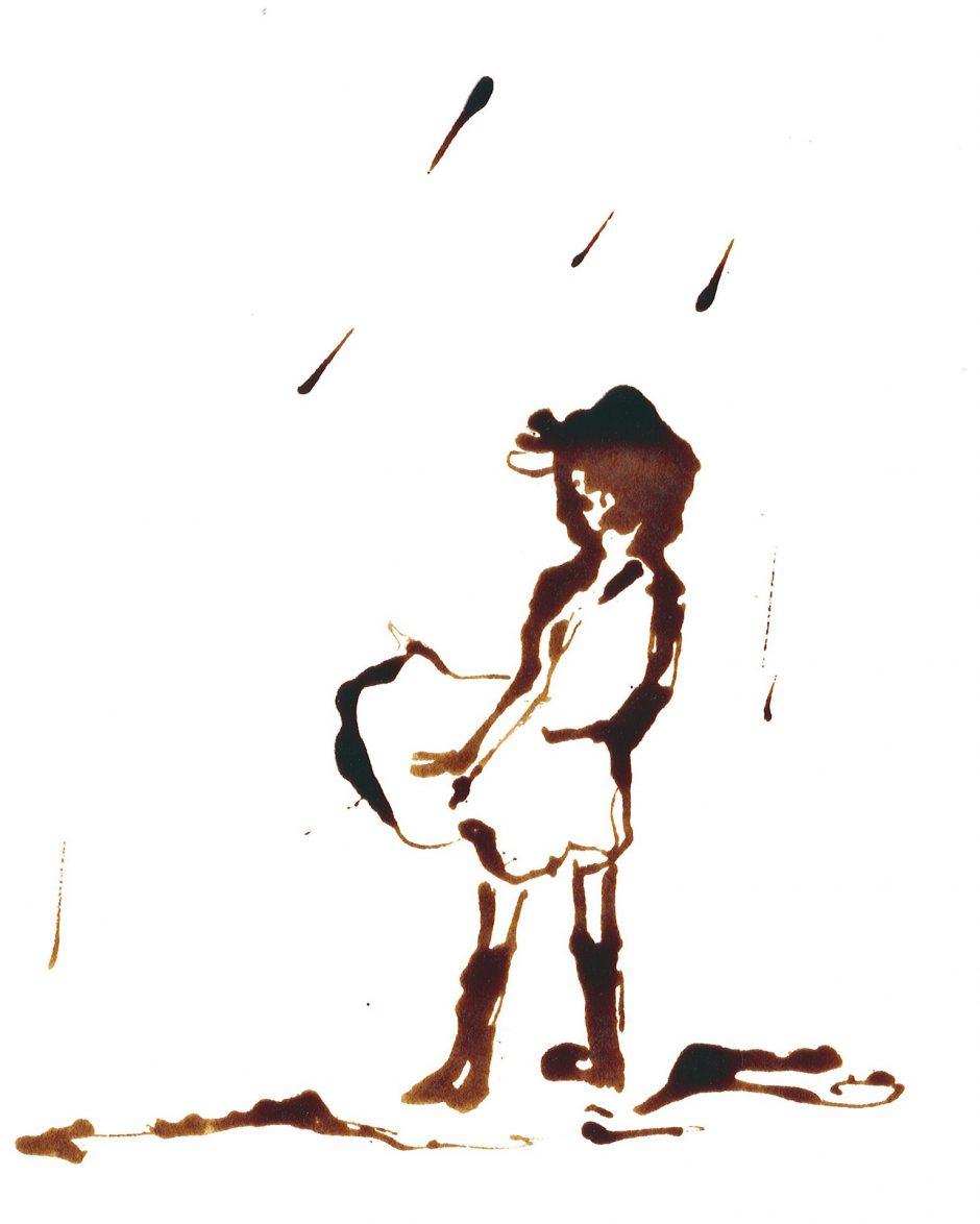 Regen im Kleid, 2020, Schellacktusche, 24 x 17 cm