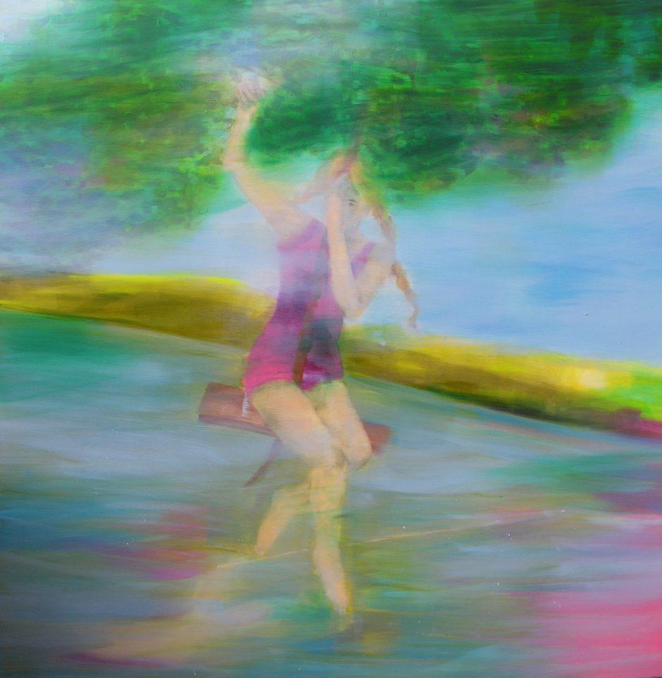 Swing away, 2020, Öl auf Nessel, 145 x 145 cm