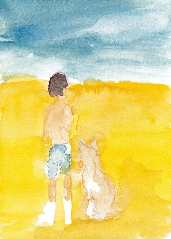 Urlaub mit Hund, 2021, Aquarell, 24 x 17 cm