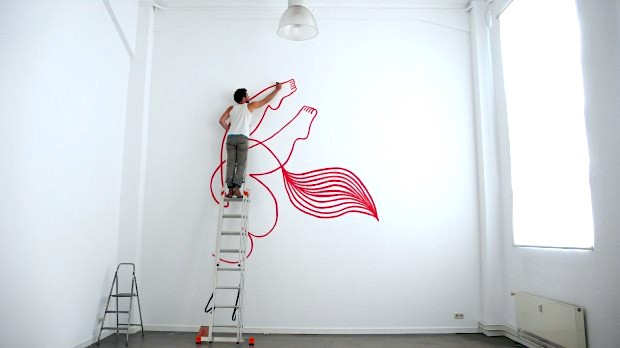 Julien Roux, Eroticly correct, wall painting in process, Hamburg 2015