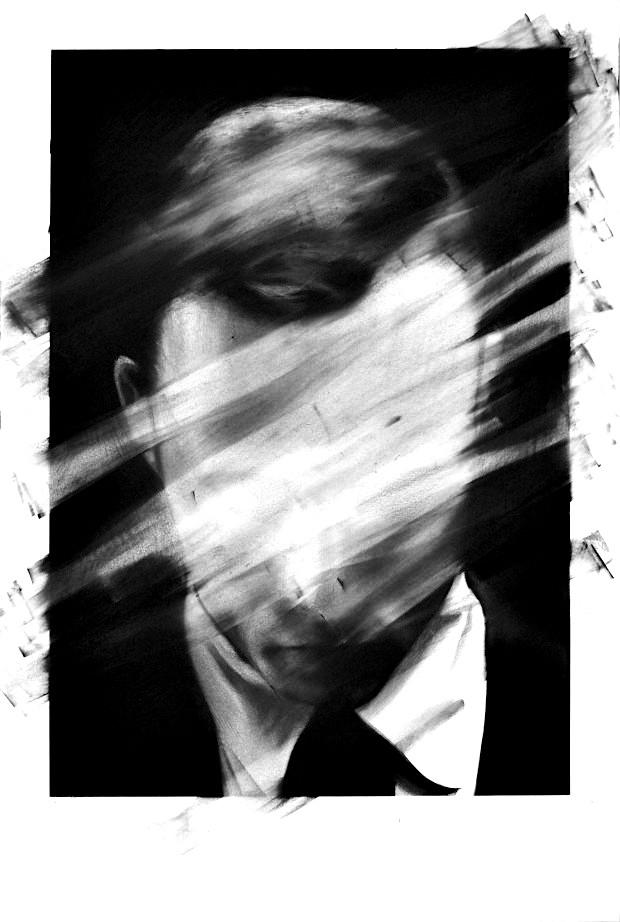 Valentin van der Meulen, untitled, 2013, Kohle, schwarzer Stein, Radiergummi auf Papier, 90 x 145 cm