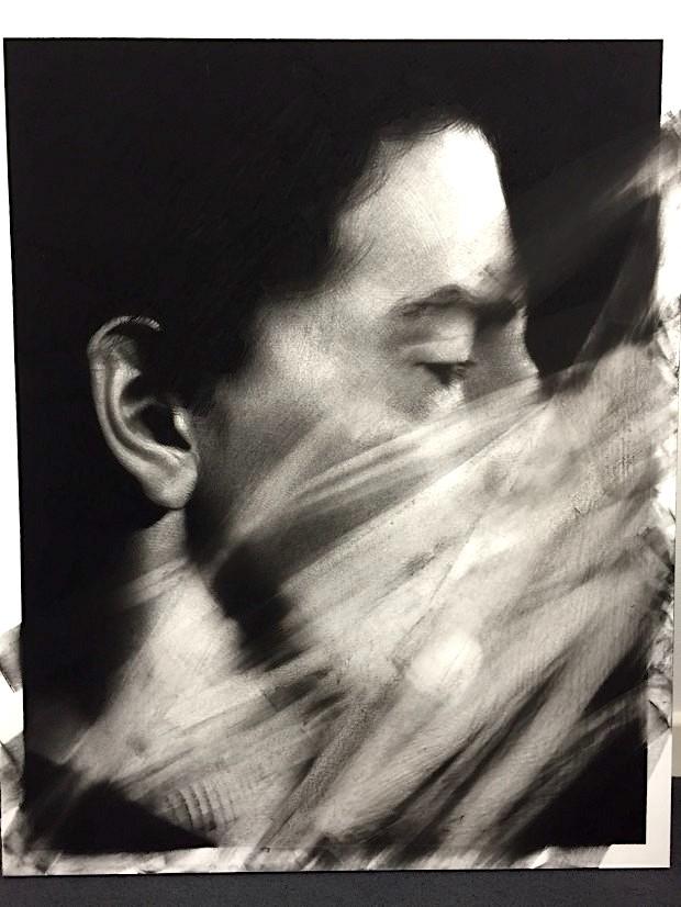 Van der Meulen, untitled (Kopf), 2016, 100 x 80 cm, Kohle, Radiergummi, Papier auf Holz montiert