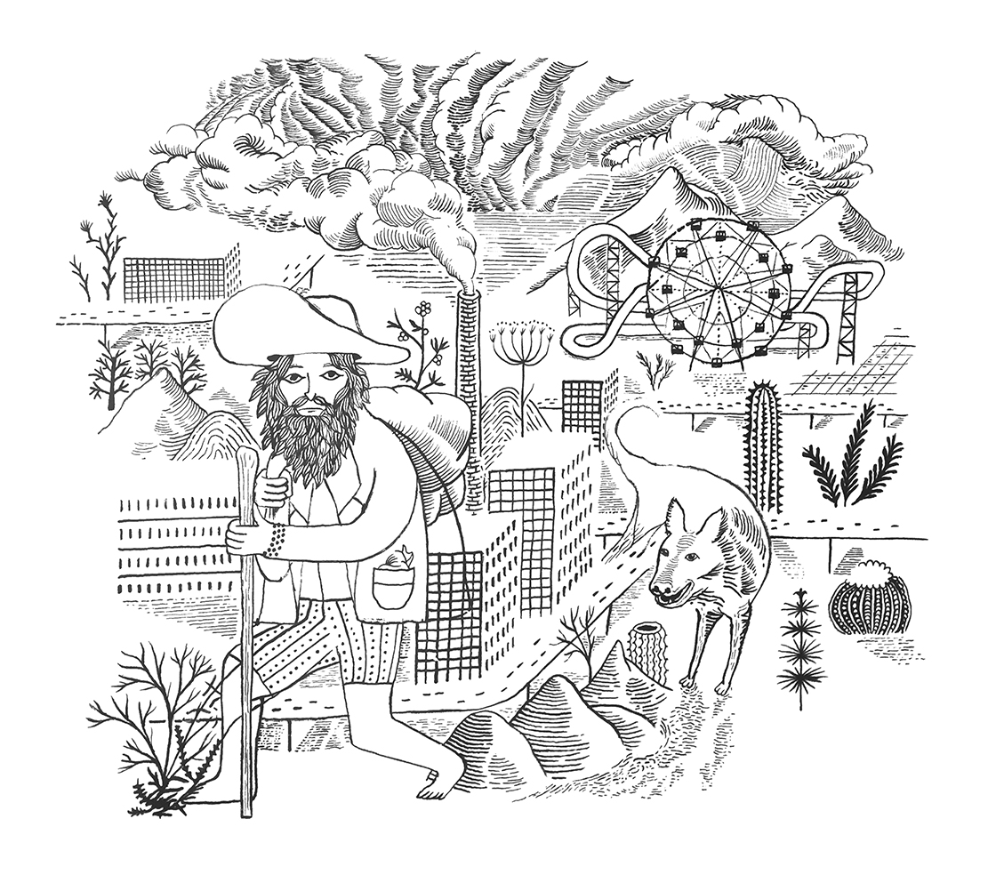 Wandering Jew 25, 2019, Ind. Tinte, Pinsel auf Papier, 45 x 58 cm