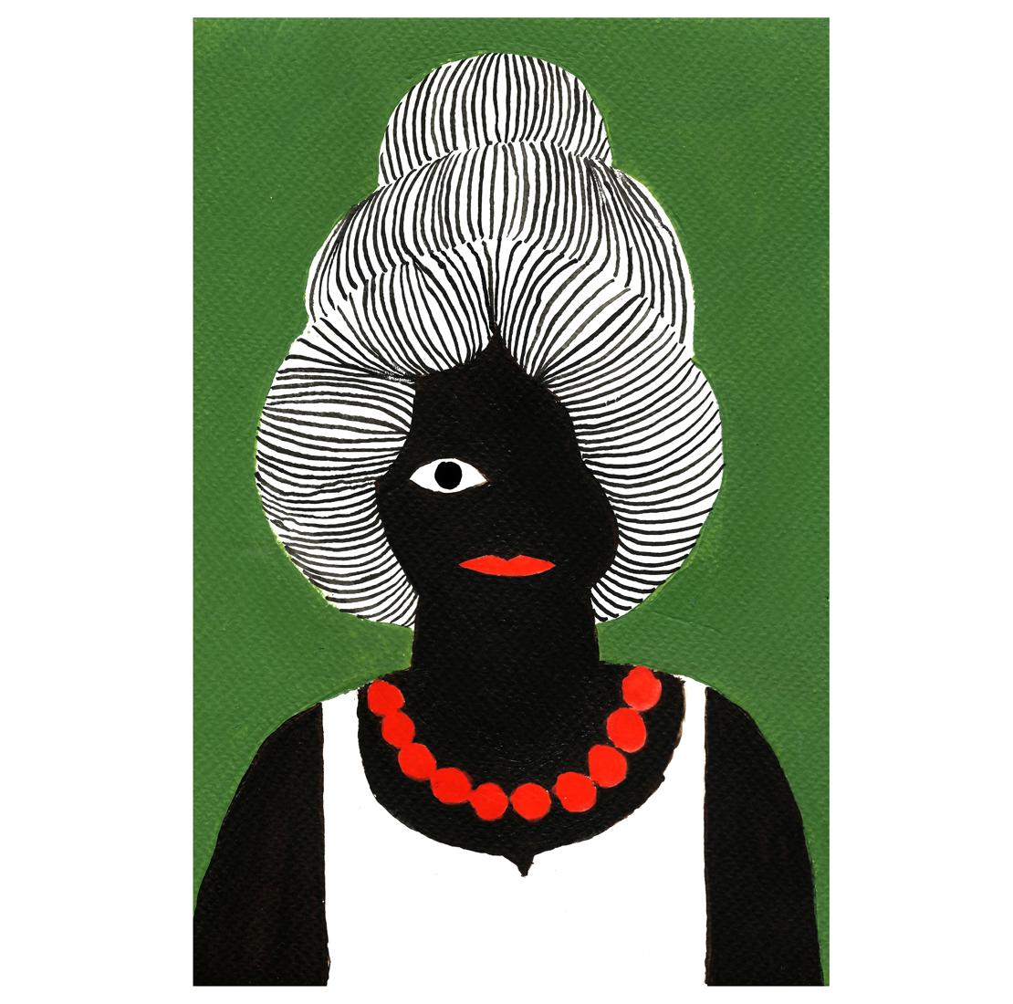 Femme Noir Collier Rouge, 2017, Tinte, Acryl auf Papier, 15,4 x 23,5 cm