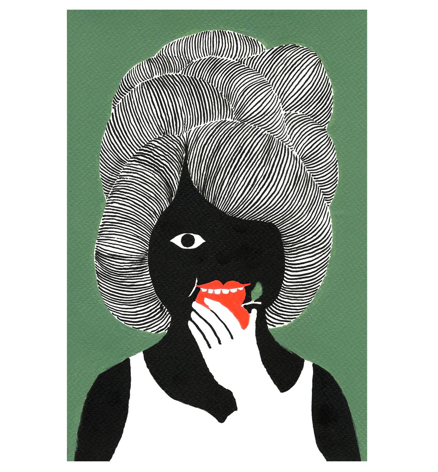 Femme Noir Mange Pomme Rouge, 2017, Tinte, Acryl auf Papier, 15,4 x 23,5 cm