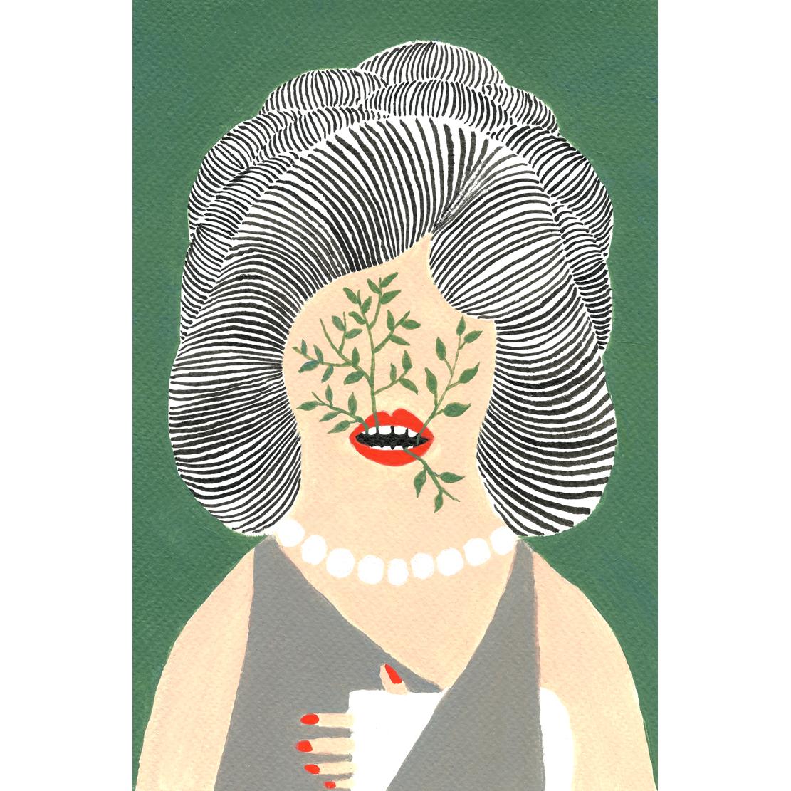 Femme Platte Vegetaux  Bouche, 2017, Tinte, Acryl auf Papier, 15,4 x 23,5 cm