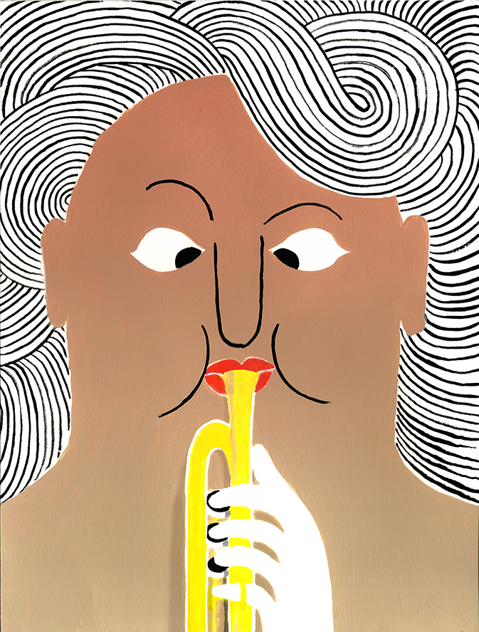 GP Trumpet, 2019,  Tinte, Acryl auf Papier, 22,5 x 30 cm