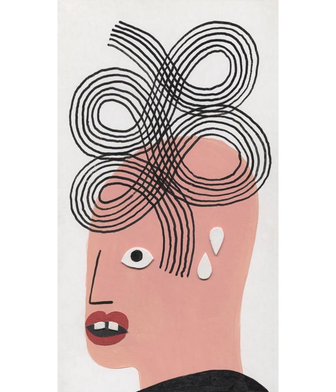 Haircut 11, 2018, Tinte, Acryl, Collage auf Papier, 12 x 22 cm