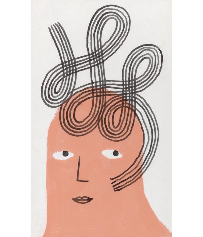 Haircut 6, 2018, Tinte, Acryl, Collage auf Papier, 12 x 22 cm