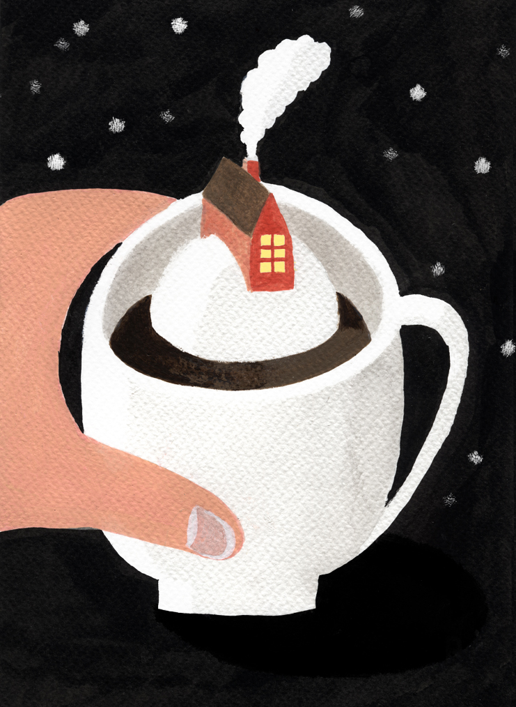 Home in a Cup, 2018, Tinte, Acryl auf Papier