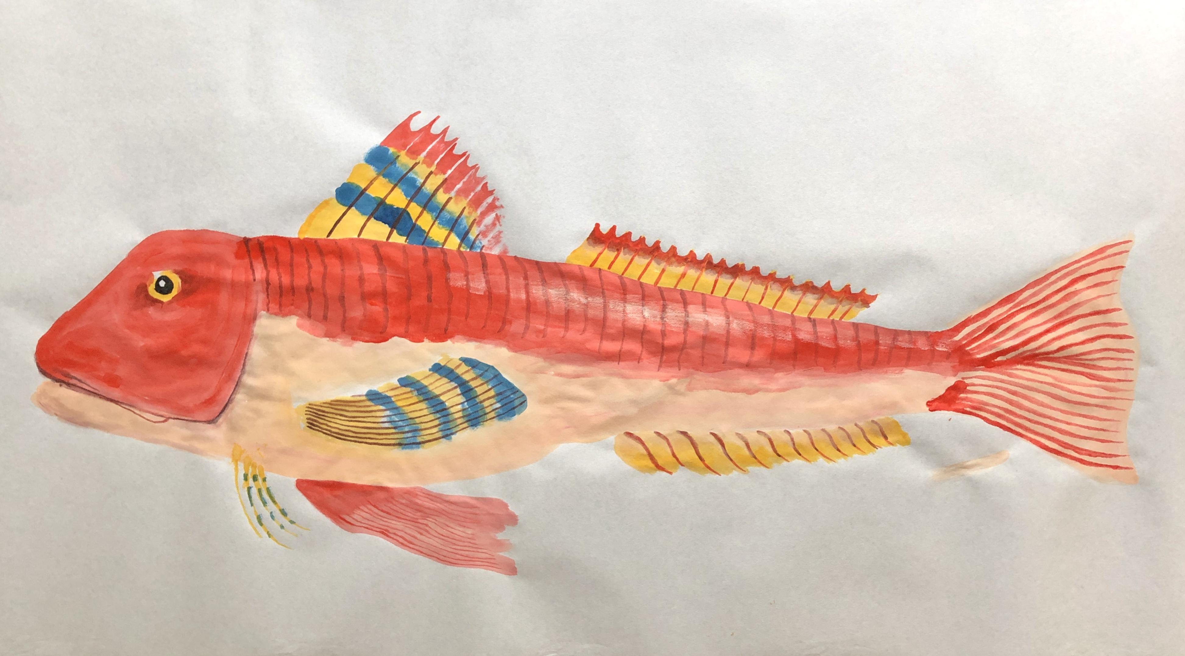 Straket Gurnard, 2021, Tinte, Gouache, Acryl auf Japanpapier, 45 x 85 cm