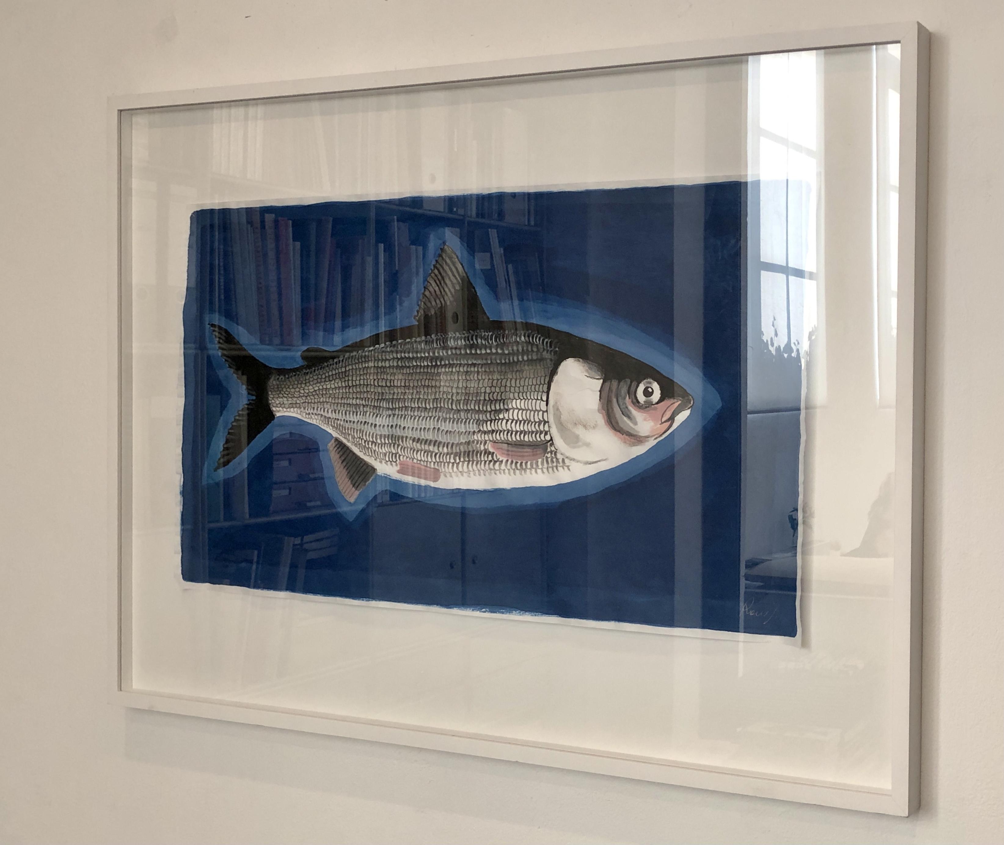 Sardine, 2021, Tinte, Gouache, Acryl auf Japanpapier, 45 x 80 cm