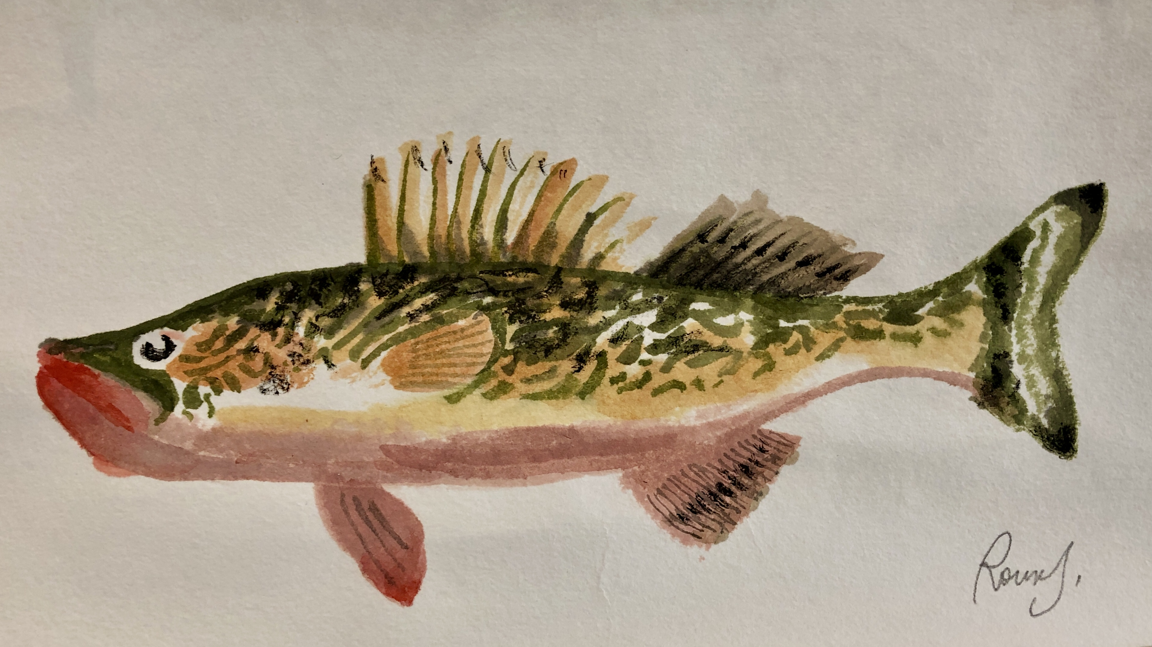 Fish 34, 2020, Tinte, Gouache, Acryl auf Japanpapier, 15 x 20 cm