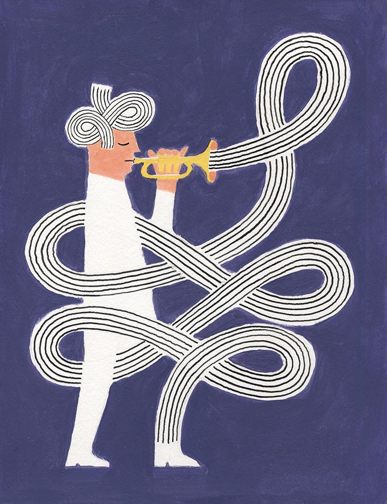 Trumpeter, 2019, Tinte, Acryl auf Papier, 23 x 30 cm
