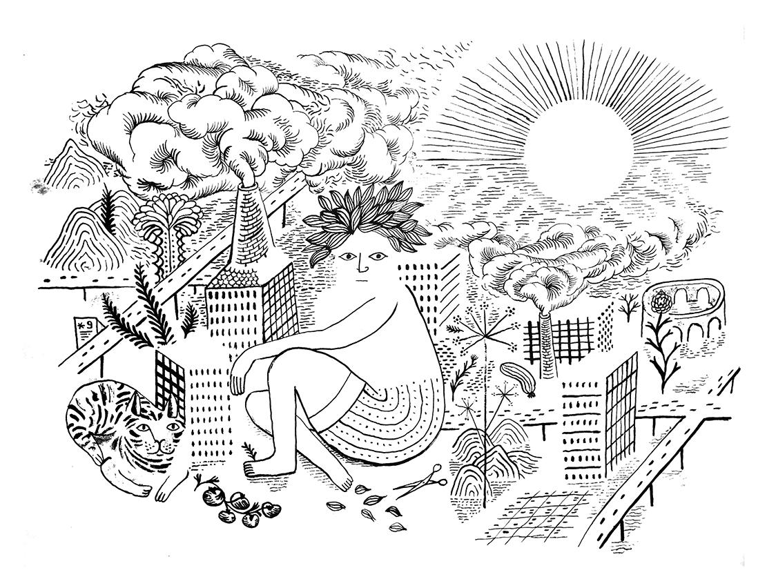 Wandering Jew 15,  2019, Ind. Tinte, Pinsel auf Papier, 45 x 58 cm