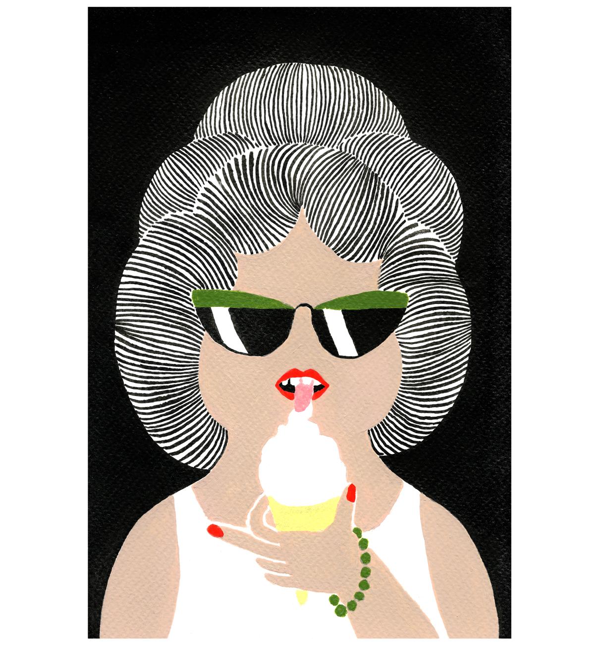 Femme Mange Glace Doigt, 2017, Tinte, Acryl auf Papier, 15,4 x 23,5 cm