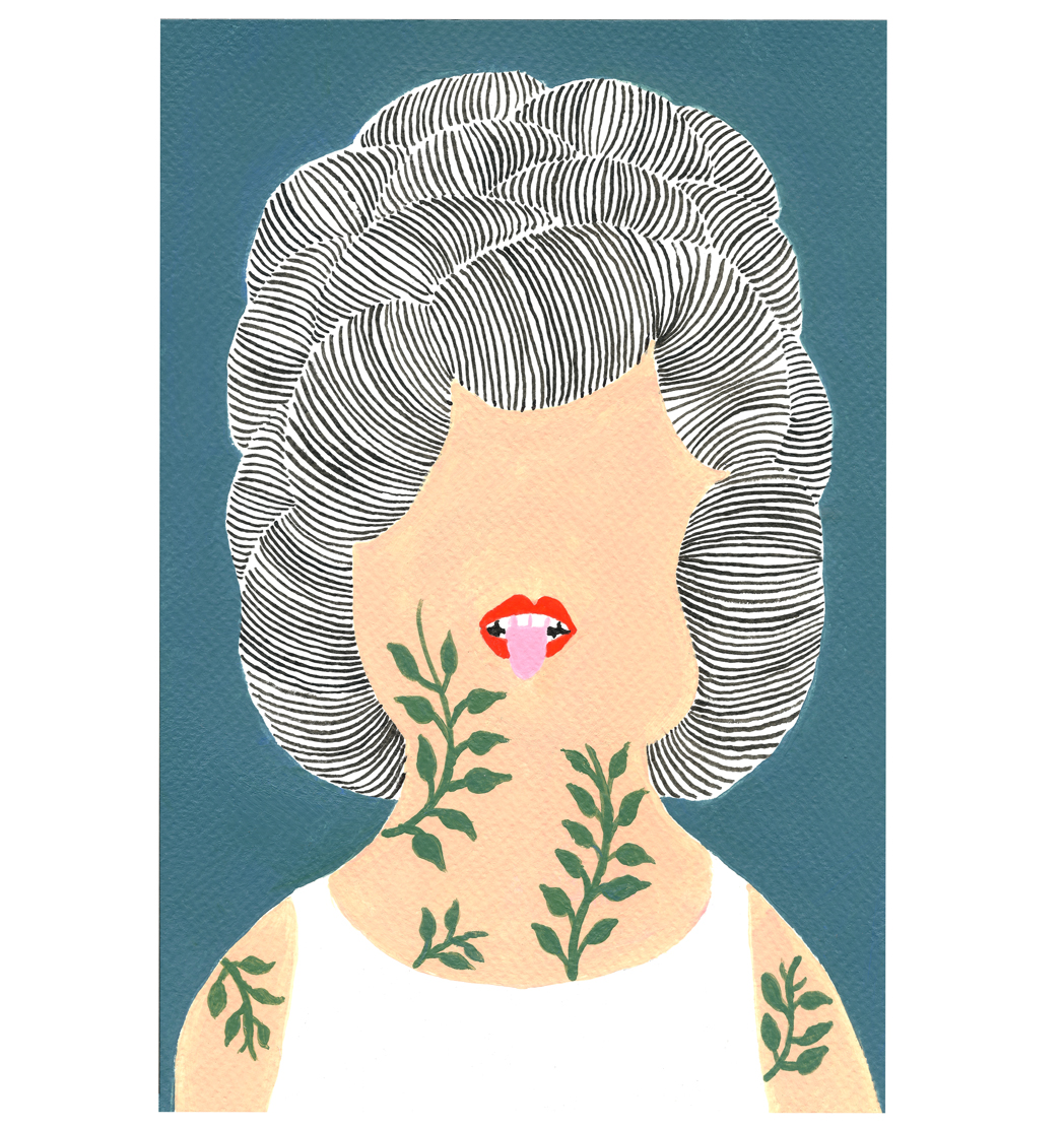 Femme Tatouage Plantes, 2017, Tinte, Acryl auf Papier, 15,4 x 23,5 cm